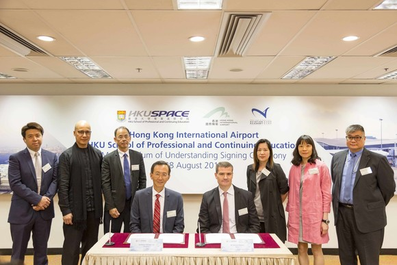 HKU SPACE and Hong Kong International Airport Aviation Academy have signed a Memorandum of Understanding (MOU)