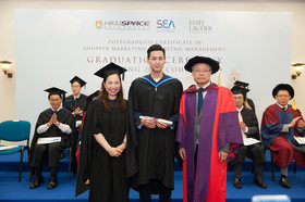 (from right) Group photo of Prof Liu Ning Rong, graduate representative Mr Sunny Yeung and Ms Vicki Au