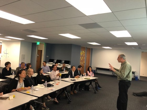 "Delegates attended the workshop ""Design Thinking @ Silicon Valley Model"" conducted by Mr. John Stoddard in the INSEEC Business School San Francisco."