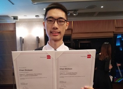 Our student gets 2 Top Scores in Hong Kong for ACCA P1 and P2 Professional papers in 2018