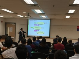 Dr Franky Wong, Programme Leader of HKU SPACE was conducting the induction session to new students (2016)