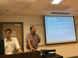 Representatives of Institution of Occupational Safety and Health, HK, were conducting briefing to new students (left: Mr Lewis Cheng; right: Mr C. S. Ma) (2016)