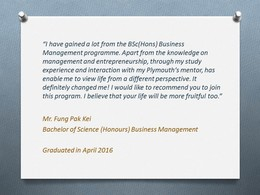 Graduate Sharing 1 - Bachelor of Science (Honours) Business Management