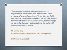 Graduate Sharing 2 - Bachelor of Science (Honours) Business Management