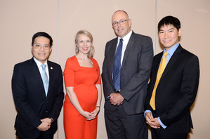 From left: Dr. WH Yeung, General Manager, HKIB;  Ms. Urszula McCormack, Partner, King & Wood Mallesons; Mr Russell Harding, AML Lecturer; Dr. Ringo Chan, Programme Leader, HKU SPACE