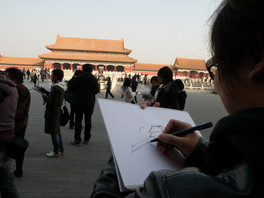 Student sketching at the Forbidden City in Beijing